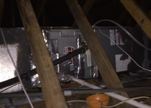 air handler covered in tape